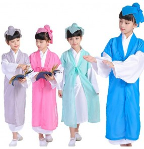 Children's Chinese ancient traditional hanfu costumes for boy girls children Confucius teaching costumes stage performance drama cosplay costumes