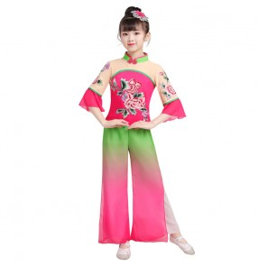 Children's chinese classical folk dance costumes girls elegant  fairy dresses Chinese style dance umbrella dance fan dance girls Yangko costumes