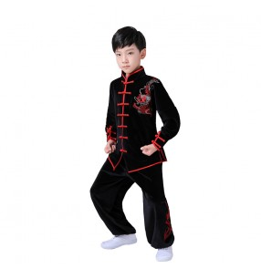 Children's chinese dragon martial arts costumes boy wushu performance clothes perform Tai Chi clothes long-sleeved autumn winter thick gold velvet kungfu clothing
