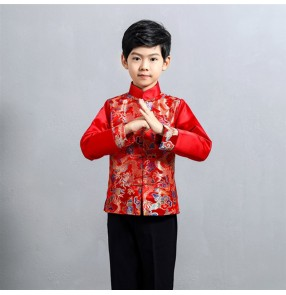 Children's Chinese dragon red silk Tang suit Chinese style festive costume Boy host elementary school chorus performance costume