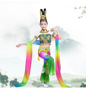 Children's Chinese fairy flying dance costumes girls classical stage performance dress chinese folk dance Dunhuang dance costumes