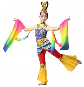 Children's chinese fairy flying folk dance costumes girls china classical dance costumes rainbow colored fairy dress Dunhuang dance costumes for kids