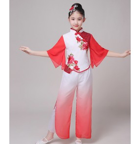 Children's Chinese folk classical dance costumes fan umbrella dance dresses Chinese children's Yangko costumes Jasmine folk dance costumes