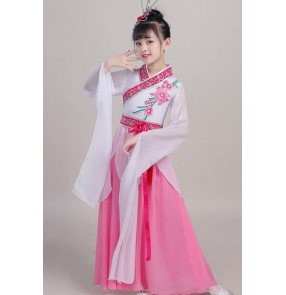 Children's chinese folk dance dress water sleeves china classical dance costumes plucking dance costume female Chinese style elegant hanfu fairy costume for girls