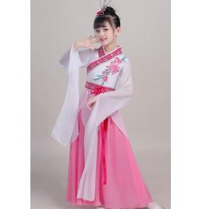 Children's chinese folk dance dress water sleeves china classical dance costumes plucking dance costume female Chinese style elegant hanfu fairy costume for girls