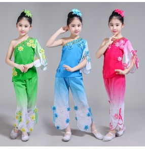Children's Chinese folk dance dress Yangko clothing classical dance costumes girls national boys children umbrella dance fan dance costumes