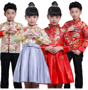 Children's Chinese folk dragon style chorus Tang suit costumes for boys girls New Year's Day Yangko princess performance clothing dress