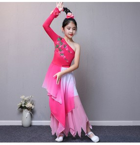 Children's Chinese folk traditional classical ancient dance costumes for kids girls Yangko fairy cosplay dress pink blue gradient colored stage performance clothes outfits costumes