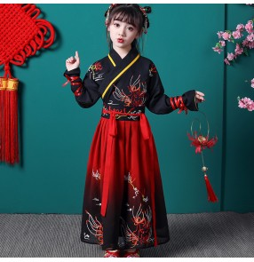 Children's chinese hanfu ancient traditional Chinese style boy and girl ancient style Tang suit princess fairy performance dresses
