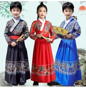 Children's chinese hanfu Boy girls Chinese style black red dragon robes knight swordman cosplay robes ancient traditional drama cosplay robes