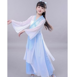 Children's chinese hanfu chinese ancient fairy princess classical dance costume girls Chinese dance Jasmine fan dance costumes