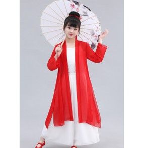 Children's chinese hanfu chinese classical dance fairy dresses Chinese style robe costumes fan dance umbrella dance girls suit