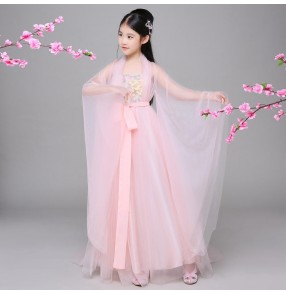Children's chinese hanfu costume fairy dresses Tang costume ancient princess dress trailing Imperial concubine photos cosplay dresses