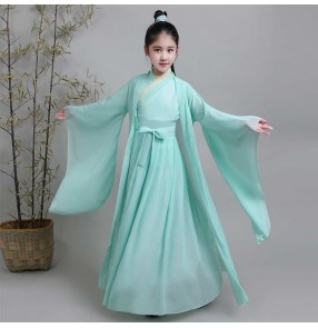 Children's Chinese hanfu  fairy princess film drama cosplay photos shooting dresses Chinese style Chivalrous boy girl guzheng warrior performance dresses