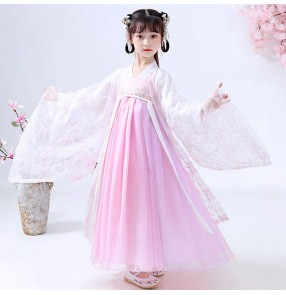 Children's Chinese Hanfu Girl Ancient Costume Tang dynasty pink empress fairy dresses Costume Girl Chinese Style Cherry Blossom Princess Dress