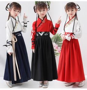 Children's chinese Hanfu Girls' Kindergarten School Clothes kimono dress princess fairy prince performance dress for Boys and Girls