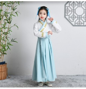 Children's Chinese hanfu school uniform boy white with blueTang suit Girls Chinese style stage performance drama cosplay costumes for boy girls