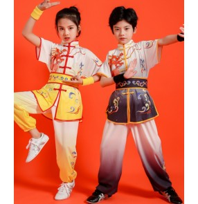 Children's chinese martial arts Wushu clothes Boys girls kindergarten Kungfu taichi training clothing perform martial arts practice costumes for students