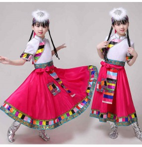 Children's Chinese Mongolia dance costumes Tibetan auspicious Reba drum minority dance costumes Tibetan performance