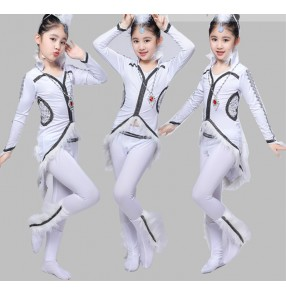 Children's chinese Mongolian performance clothing modern dance fox white fox performance dresses Mongolian dance costumes for girls