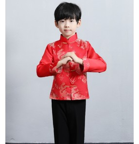 Children's Chinese New Year's Day Chorus dragon tang suit Boy's Tang suit Chinese style festive performance costume Boy hostess New Year's greeting clothes