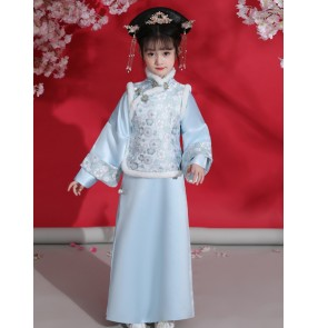 Children's Chinese Qing Dynasty Manchu princess dresses ancient Qing Dynasty palace anime drama princess flag dance dress girl Hanfu