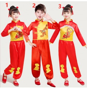Children's Chinese Yangko Costume boyg girls festive dance clothes Boys and girls chinese Tang suit drum performance costume