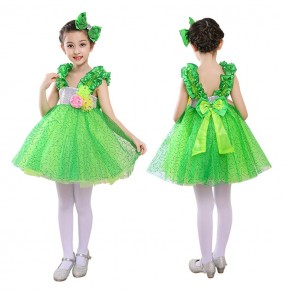 Children's chorus princess dresses green stage performance fairy jazz dance costumes kindergarten girls gauze skirt puff skirt  performance clothing