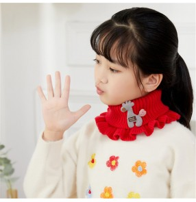 Children's detachable collar high neck bib Cute warm knitted scarf wool hooded rabbit fur collar for girls kids wholesale
