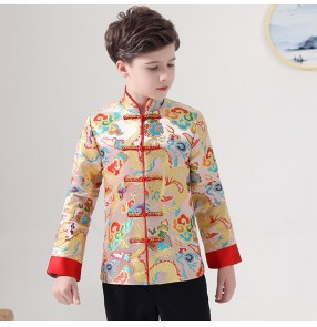 Children's dragon tang suit  for boy Hanfu Chinese style clothing for Boys Chinese school chorus performance clothes chinese suit for kids Festive jacket tops