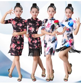 Children's floral Latin Dance Skirts Children's Dance Girls Practice Hosting qipao Costume Competitions Performing Classical Cheongsam dresses