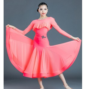 Children's girls ballroom dance dresses coral black Modern dance standard ballroom dancing dresses ruffles neck practice dance clothes standard modern dance skirt