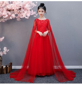 Children's Guzheng stage performance red princess fairy dresses Girls model show dress Temperament Long Elegant piano Performance Dresses