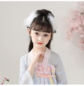 Children's Hanfu Feather Headdress Fairy Hairpin Side Clip Girl Japanese Cute Ancient Style Hanfu Hair Accessories