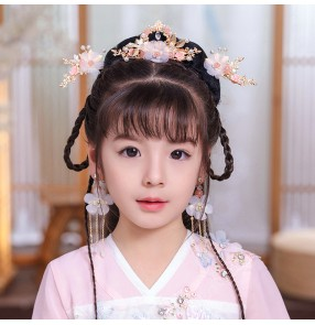 Children's Hanfu headwear kids kimono dress headdress Tassel ancient style hair ornament ancient hairpin Girl fairy ancient assembly jewelry