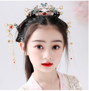 Children's headwear Chinese style Tang suit Hanfu princess empress hair accessories Photography ancient hairpin Hairpin catwalk show girl fairy
