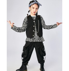 Children's hip-hop rap street dance suit Boy drum set Zebra print jazz dance costume girls video shooting gogo dancers performance outfits catwalk hiphop clothes