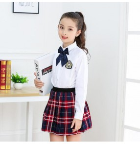 Children's host singers chorus performance clothing primary and secondary school students plaid school uniforms poetry recitation Choir performance clothing for girls