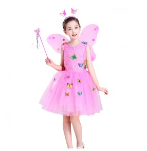 Children's jazz ballet chorus princess dress girls performance pink white yellow fluffy skirt kindergarten butterfly fairy dress Halloween costume