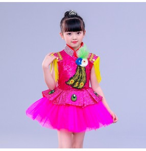 Children's jazz dance drum costumes royal blue pink modern dance girls petti skirt dress host Chorus piano stage performance clothing dresses
