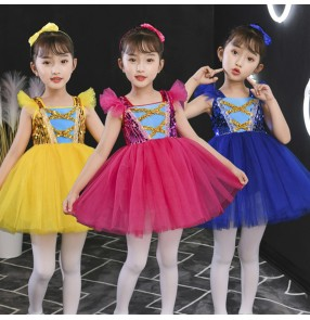 Children's jazz dance singers host performance costumes for girls kindergarten dance fluffy skirts blue hot pink yellow sequined princess dress jazz dance costumes