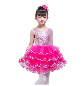 Children's jazz modern dance princess pink dress girls costumes singers chorus performance Dress fluffy skirt kindergarten pupils modern dance clothes
