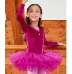 Children's long-sleeved  fuchsia blue velvet Ballet dance clothes girls practice exercises dance clothes ballet tutu skirt