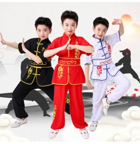 Children's martial arts performance clothing cotton Chinese style Tai Chi kung fu uniforms performance clothing cotton and linen children wushu practice clothing