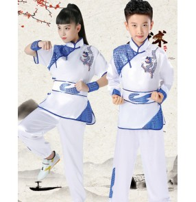 Children's martial arts performance clothing elementary and middle school students sports practice training long-sleeved martial arts wushu taichi fitness sports clothing for girls boys