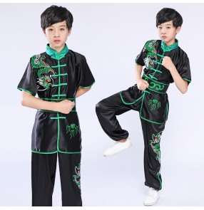 Children's martial arts performance clothing training wushu suit for boy girls youth competition examination chinese embroidery dragon clothing