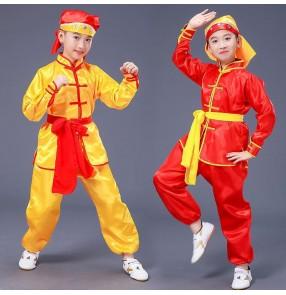 Children's martial arts performance competition waist drum kung fu dragon dance costume long-sleeved boy children kindergarten pupils kung fu costume