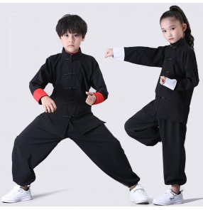Children's martial arts TaiChi KungFu Fitness uniforms wushu suit cotton and linen Chinese Kung Fu training performance clothing