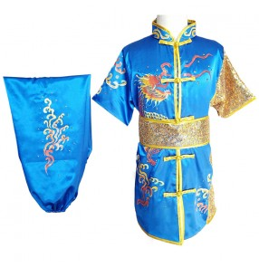 Children's martial arts wushu competition performance clothes for boys girls Embroidery dragon clothing taichi kungfu fitness martial arts performance clothing