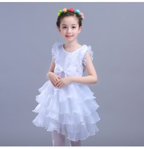Children's Modern dance ballet princess dresses girls fluffy white flower girls party dance dress model show performance clothing